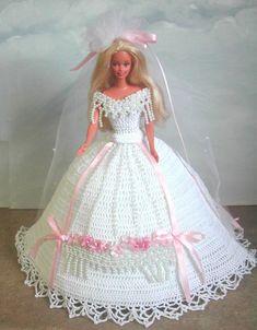 Crochet Fashion Doll Barbie Pattern 553 by JudysDollPatterns Barbie Bridal, Barbie Wedding Dress, Barbie Gowns, Barbie Dress, Barbie Doll, Doll Dresses, Crochet Barbie Patterns, Crochet Doll Dress, Crochet Barbie Clothes