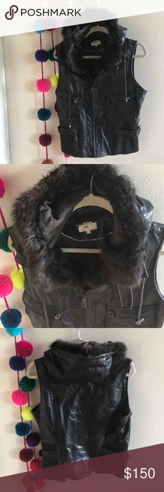 JUNE brown leather vest This adorable leather vest is great for Fall, Winter, and even a cool summer night! Beautiful quality brown leather with fur lined neck and hood in a size large! June Jackets & Coats Vests