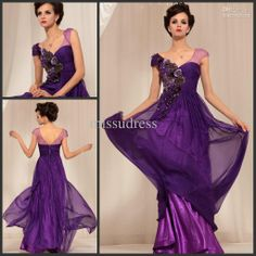 Wholesale Prom Dress - Buy New Trend 2013 New Arrival V-neck Cap Sleeves Embroidery Purple Evening Dress Chiffon Long Prom Gown, $104.3   DHgate