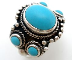 Sterling Silver Turquoise Ring Size 6 5 Well Made Signed 925 Southwestern | eBay