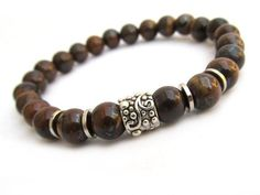 Tiger Iron Men's Bracelet - Men's Jewelry - Bracelets for Men - Gemstone Bracelets - Brown Bracelet - Beaded Stretch Bracelet - M0028