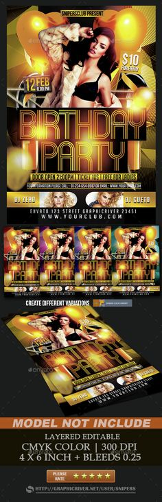 Buy Birthday Party by snipers on GraphicRiver. Online Fonts, Information Graphics, Dubstep, Snipers, Flyer Template, Champagne, Anniversary, Birthday Parties, Photoshop