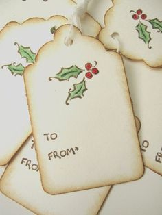 Holly Berry Christmas Gift Tags by CharonelDesigns on Etsy: Christmas Labels, Holiday Gift Tags, Christmas Gift Wrapping, Holiday Cards, Homemade Gift Tags, Diy Gift Tags, Gift Cards, Handmade Tags, Christmas Tags Handmade