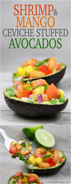 Shrimp And Mango Ceviche Stuffed Avocados. This looks so fresh, healthy and delicious! Perfect for summer!