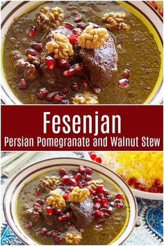 Fesenjan stew is a wonderful Persian concoction made with chicken, pomegranates and walnuts served with rice for a perfect meal with bold flavors! This dish is from north of Iran and it can also be made vegetarian. The flavors of this dish is so unique! Best Lunch Recipes, Supper Recipes, Gumbo Recipes, Amazing Recipes, Soup Recipes, Dessert Recipes, Fried Fish Recipes, Chicken Recipes, Persian Chicken