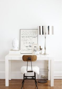 simple white desk