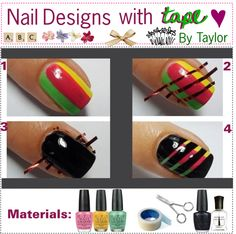 """Nails Designs with tape!"" by tippers-of-polyvore ❤ liked on Polyvore"