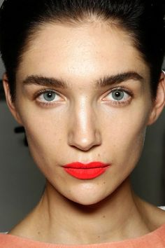 bright matte lips, fresh face & bold brows #beauty #makeup