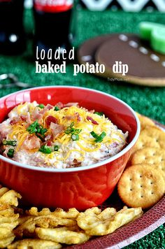 Loaded Baked Potato Dip will blow your mind! recipe at TidyMom.net