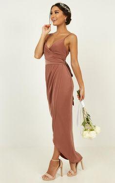 How Will I Know Dress In Dusty Rose | Showpo Silk Bridesmaid Dresses, Wedding Bridesmaids, Matte Satin, Love Hair, Hair Piece, Dusty Rose, Wrap Dress, Bridal, Formal Dresses