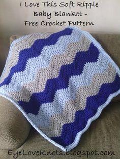 EyeLoveKnots: I Love This Soft Ripple Baby Blanket - Free Crochet Pattern