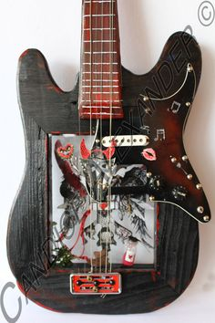 3D Je T'aime Guitar Frame. This is handmade, hand painted and embellished guitar. $400.00 #candicealexander #louisiana #nola  #guitar #3dart #jetaime