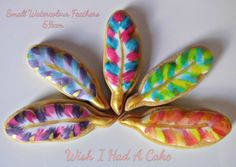 Small Watercolour Feather Cookies by Wish I Had A Cake