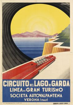 Awesome! Vintage Tour-Bus Excursions Travel Poster by Arduino Colato: Verona, Italy 1937 (Swann Galleries)