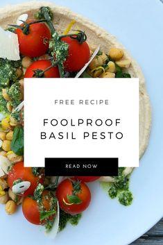 Delicious and easy basil pesto recipe! Basil Pesto Recipes, Pecorino Romano Cheese, Basil Leaves, Original Recipe, Household Tips, Free Food, Cooking Tips, A Food, Food Processor Recipes