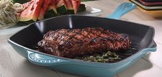 Grilled Strip Steak and Watermelon with Jicama Slaw with LeCreuset