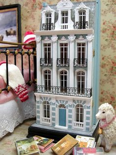 "Kilmouski & Me: 1: 144 Scale French Townhouse 1:144 scale is dollhouse for a dollhouse size. what you see in the rest of this photo are  regular"" size 1:12."