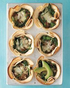 Mushroom-and-Spinach Cups just sub #glutenfree tortillas & cheese alternative
