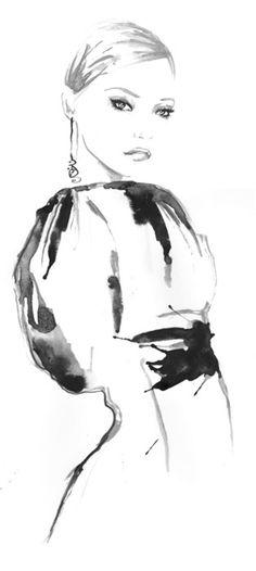 Fashion illustration for InStyle magazine; black & white fashion drawing // Chantel de Sousa
