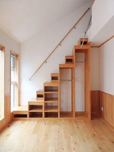 colorful home interior Tiny House Stairs, Tiny House Loft, Loft Stairs, Tiny House Living, Tiny House Design, Loft Room, Bedroom Loft, Attic Loft, Small Apartments