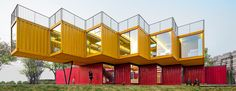 people's architecture office stacks shipping containers for cantilevered pavilion