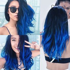Pin by halle robles on hairstyles dyed hair, hair, blue hair. Cute Hair Colors, Hair Dye Colors, Ombre Hair Color, Cool Hair Color, Green Hair, Purple Hair, Dark Blue Hair, Coloured Hair, Pinterest Hair