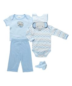 This Light Blue Elephant Five-Piece Layette Set by Cutie Pie Baby is perfect! #zulilyfinds