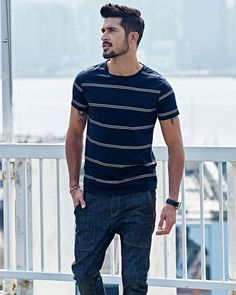 Striped Dark Blue T-shirt – $38.24 Find this and much more at MARTINZ  - http://MartinzClothing.com/ #mensclothing #top #teeshirts