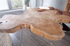 Exklusiver Couchtisch WILD 60 cm Baumscheibe Teakholz