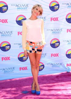 Colorful shorts, bright heels and a simple top will have you ready (and super-trendy) for date night in no time. The adorable Chelsea Kane demonstrates!
