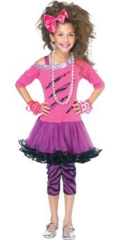 Girls 80s Rock Star Costume - Party City