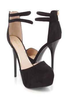 Black Ankle Strappy Platform High Heels Faux Suede
