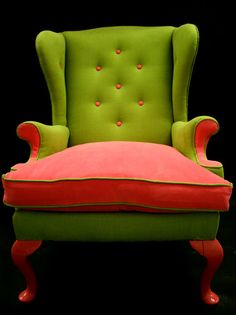 A fun and whimsical color combination. Looks like a watermelon :>    http://www.etsy.com/listing/84539735/basil-a-1960s-reupholstered-wing-back    Basil A 1960's reupholstered wing back chair in by katepritchard,