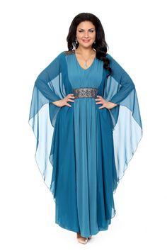 Платье большого размера - артикул 16383, цвет Морская волна
