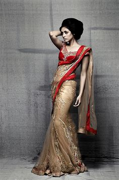 red and gold Sari style. I like that this is kinda like a gagrha at the bottom but otherwise okay.