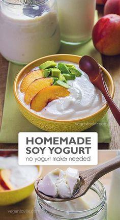 Homemade Soy Yogurt - Thick and Creamy without Yogurt Maker Yogurt Recipes, Milk Recipes, Dairy Free Recipes, Vegetarian Recipes, Healthy Recipes, Vegetarian Cooking, Healthy Desserts, Healthy Food, Homemade Soy Milk