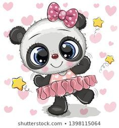 Cartoon Panda Ballerina on a hearts background. Cute Cartoon Panda Ballerina on a hearts background royalty free illustration Cartoon Cartoon, Disney Cartoon Characters, Cute Cartoon Girl, Cute Cartoon Animals, Panda Mignon, Cartoon Mignon, Cute Panda Wallpaper, Niedlicher Panda, Art Mignon