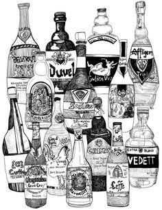 You Pick - Home-Bar ART Drawings as 8x10 PRINTS