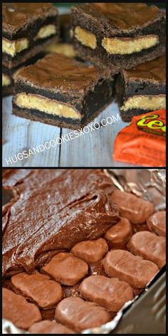 Brownies stuffed with reese s peanut butter cups chocolate chip peanut butter pie yummy cake peanut 13 Desserts, Delicious Desserts, Delicious Cookies, Strawberry Desserts, Brownie Recipes, Cookie Recipes, Brownie Desserts, Marshmallow Desserts, Brownie Frosting