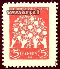 1908 Omenapuu.  Keräystoimikunta Vähävaraisten Keuhkotautisten Hyväksi ryhtyi 1908 ensimmäisenä Suomessa ideoimaan hyväntekeväisyysmerkkiä. Merkin suunnitteli Akseli Gallen-Kallela, ja hän lahjoitti merkin piirustukset keräystoimikunnalle. Punaisen viiden pennin merkin kuva esitti »hädässä olevien käsiä kurkottamassa kohti elämänpuun hedelmiä. Merkkiä myytiin ympäri vuoden usean vuoden ajan, minkä vuoksi sitä ei pidetä varsinaisena joulumerkkinä.