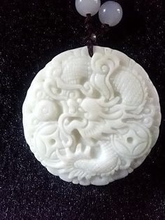 Chinese white jade round bead necklace jade dragon by soyon, $25.00