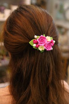 Floral barrette, handmade Flowers jewelry, polymer Clay hair accessories, barrette, flower barrette