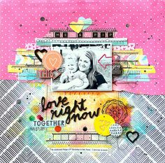 My Scraps & More DT Project - by Missy Whidden -  Amy Tan Rise & Shine collection (American Crafts) - page based on a sketch I designed for the April Sketchathon - Flair from A Flair For Buttons; arrow paper clip & wood veneer word arrow from Freckled Fawn.