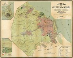 Old map of Buenos Aires, Argentina, 1892. This is a unique map; the original map was tiles; these tiles has been linked and missing parts restored
