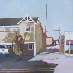 "Lisa Snow Lady, Quiet Street, Acrylic on Canvas, 20""x20"""