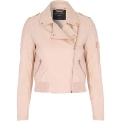 Jane Norman Black PU Bomber Jacket found on Polyvore featuring outerwear, jackets, pastel pink, women, pink jacket, motorcycle bomber jacket, pink moto jacket, collared bomber jacket and pastel jacket