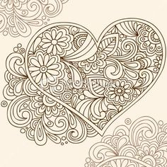 Illustration about Hand-drawn Doodle Henna Heart Vector Illustration with Flowers and Swirls. Illustration of groovy, indian, cute - 10615297 Tangle Doodle, Tangle Art, Doodles Zentangles, Zentangle Patterns, Adult Coloring Pages, Colouring Pages, Coloring Books, Doodle Drawings, Doodle Art