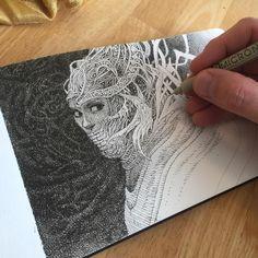Ryan Ottley. Pen sketch doodlery.