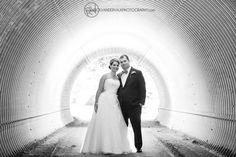 Wedding Portrait -Fun portrait in gold tunnel at the Horseshoe Valley Golf Resort.