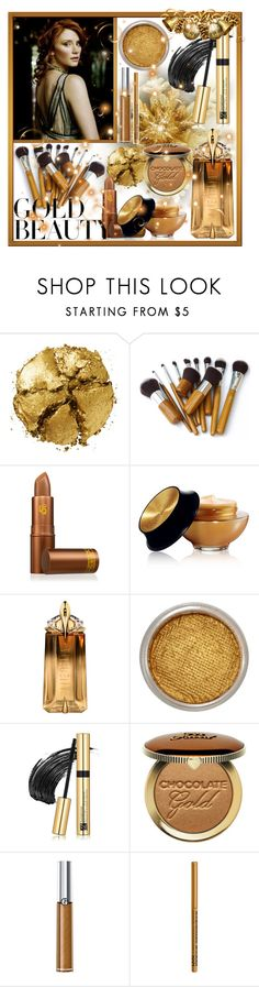 """""""Golden Beauty"""" by giovanina-001 ❤ liked on Polyvore featuring beauty, Pat McGrath, Lipstick Queen, Yves Saint Laurent, Thierry Mugler, Suva Beauty, Estée Lauder, Giorgio Armani, NYX and GoldBeauty"""